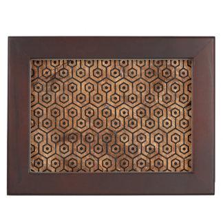 HEXAGON1 BLACK MARBLE & BROWN STONE (R) KEEPSAKE BOX