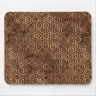 HEXAGON1 BLACK MARBLE & BROWN STONE (R) MOUSE PAD