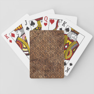 HEXAGON1 BLACK MARBLE & BROWN STONE (R) PLAYING CARDS