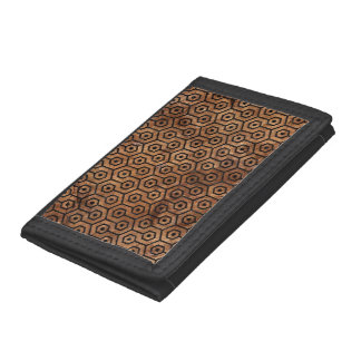 HEXAGON1 BLACK MARBLE & BROWN STONE (R) TRIFOLD WALLET