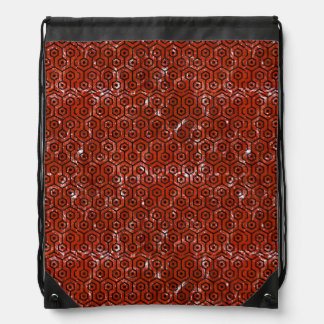 HEXAGON1 BLACK MARBLE & RED MARBLE (R) DRAWSTRING BAG