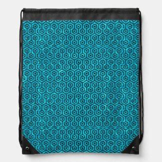 HEXAGON1 BLACK MARBLE & TURQUOISE MARBLE (R) DRAWSTRING BAG