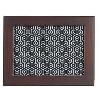 HEXAGON1 BLACK MARBLE & WHITE MARBLE KEEPSAKE BOXES
