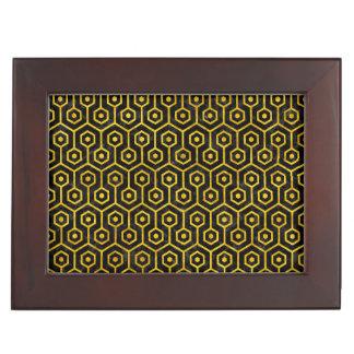 HEXAGON1 BLACK MARBLE & YELLOW MARBLE KEEPSAKE BOX
