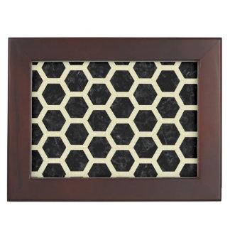 HEXAGON2 BLACK MARBLE & BEIGE LINEN KEEPSAKE BOX
