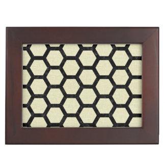 HEXAGON2 BLACK MARBLE & BEIGE LINEN (R) KEEPSAKE BOX