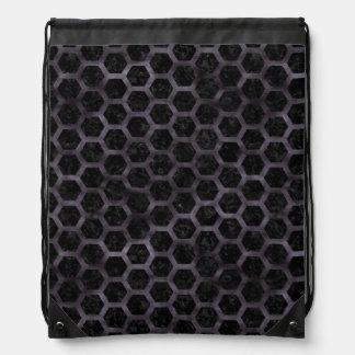 HEXAGON2 BLACK MARBLE & BLACK WATERCOLOR DRAWSTRING BAG