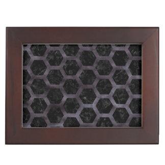 HEXAGON2 BLACK MARBLE & BLACK WATERCOLOR KEEPSAKE BOX