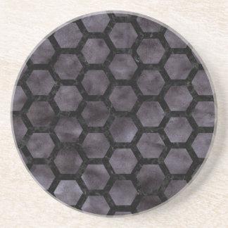 HEXAGON2 BLACK MARBLE & BLACK WATERCOLOR (R) COASTER