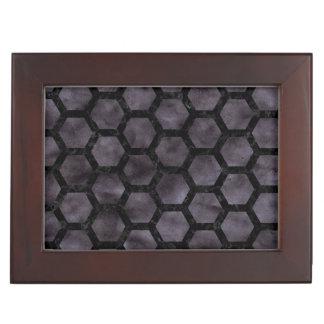 HEXAGON2 BLACK MARBLE & BLACK WATERCOLOR (R) KEEPSAKE BOX