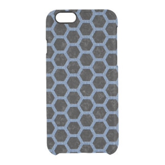 HEXAGON2 BLACK MARBLE & BLUE DENIM CLEAR iPhone 6/6S CASE