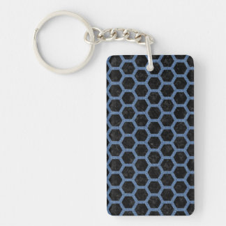 HEXAGON2 BLACK MARBLE & BLUE DENIM KEY RING