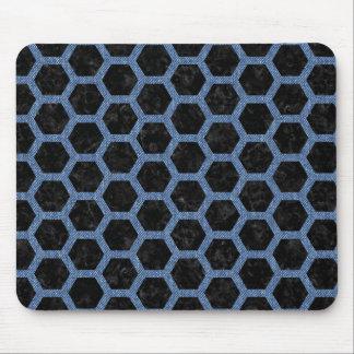 HEXAGON2 BLACK MARBLE & BLUE DENIM MOUSE PAD