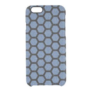 HEXAGON2 BLACK MARBLE & BLUE DENIM (R) CLEAR iPhone 6/6S CASE