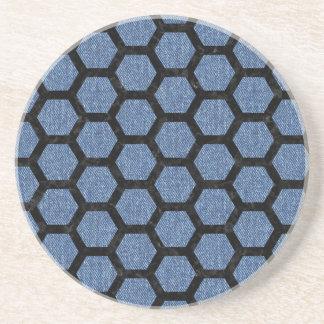 HEXAGON2 BLACK MARBLE & BLUE DENIM (R) COASTER