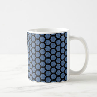 HEXAGON2 BLACK MARBLE & BLUE DENIM (R) COFFEE MUG