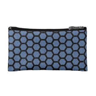 HEXAGON2 BLACK MARBLE & BLUE DENIM (R) COSMETIC BAG