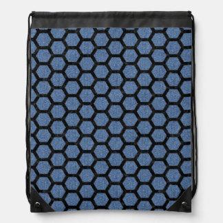 HEXAGON2 BLACK MARBLE & BLUE DENIM (R) DRAWSTRING BAG