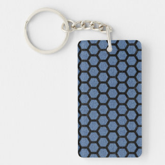 HEXAGON2 BLACK MARBLE & BLUE DENIM (R) KEY RING
