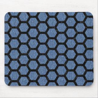HEXAGON2 BLACK MARBLE & BLUE DENIM (R) MOUSE PAD