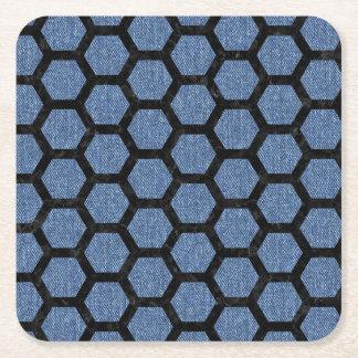 HEXAGON2 BLACK MARBLE & BLUE DENIM (R) SQUARE PAPER COASTER