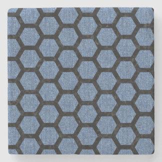 HEXAGON2 BLACK MARBLE & BLUE DENIM (R) STONE COASTER