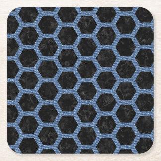 HEXAGON2 BLACK MARBLE & BLUE DENIM SQUARE PAPER COASTER
