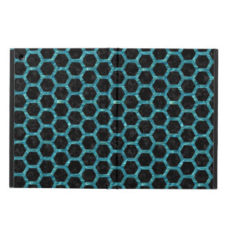 HEXAGON2 BLACK MARBLE & BLUE-GREEN WATER COVER FOR iPad AIR