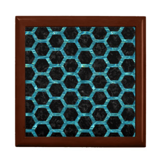 HEXAGON2 BLACK MARBLE & BLUE-GREEN WATER GIFT BOX