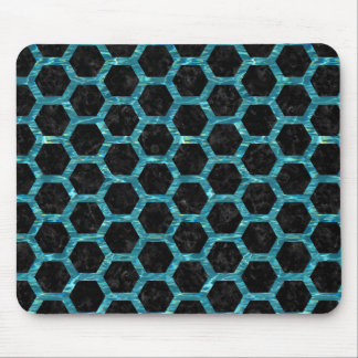 HEXAGON2 BLACK MARBLE & BLUE-GREEN WATER MOUSE PAD