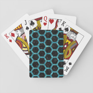 HEXAGON2 BLACK MARBLE & BLUE-GREEN WATER PLAYING CARDS