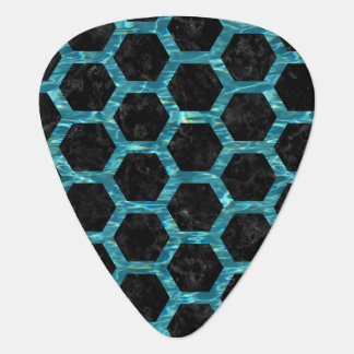 HEXAGON2 BLACK MARBLE & BLUE-GREEN WATER PLECTRUM