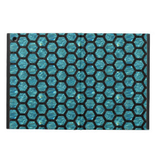 HEXAGON2 BLACK MARBLE & BLUE-GREEN WATER (R) COVER FOR iPad AIR