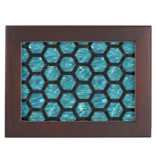 HEXAGON2 BLACK MARBLE & BLUE-GREEN WATER (R) KEEPSAKE BOX