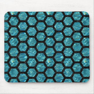 HEXAGON2 BLACK MARBLE & BLUE-GREEN WATER (R) MOUSE PAD