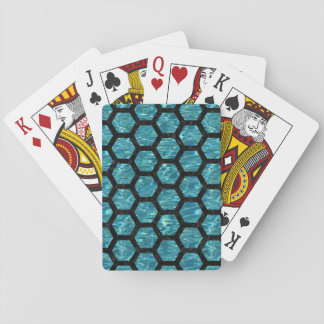 HEXAGON2 BLACK MARBLE & BLUE-GREEN WATER (R) PLAYING CARDS