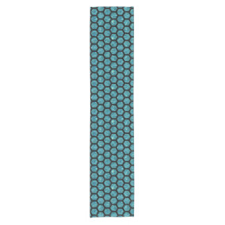 HEXAGON2 BLACK MARBLE & BLUE-GREEN WATER (R) SHORT TABLE RUNNER