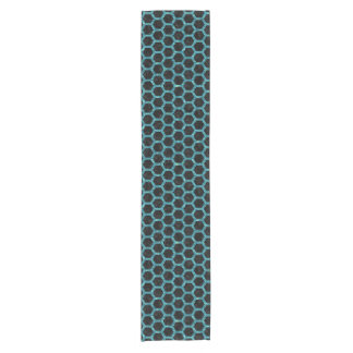 HEXAGON2 BLACK MARBLE & BLUE-GREEN WATER SHORT TABLE RUNNER