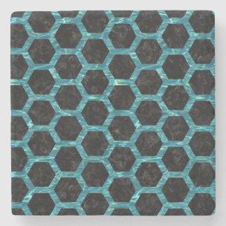 HEXAGON2 BLACK MARBLE & BLUE-GREEN WATER STONE COASTER