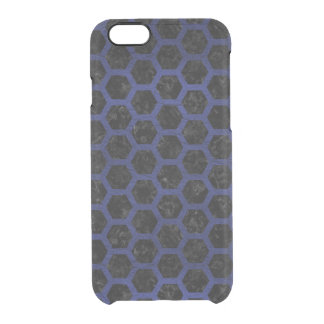 HEXAGON2 BLACK MARBLE & BLUE LEATHER CLEAR iPhone 6/6S CASE