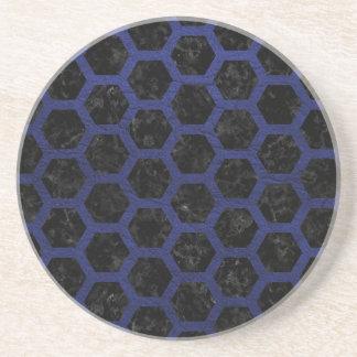 HEXAGON2 BLACK MARBLE & BLUE LEATHER COASTER