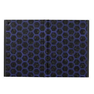 HEXAGON2 BLACK MARBLE & BLUE LEATHER COVER FOR iPad AIR
