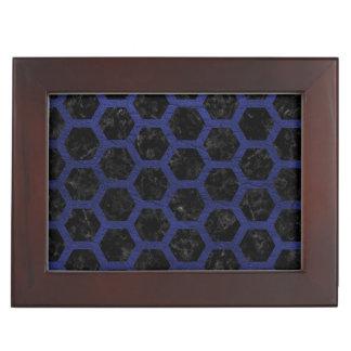 HEXAGON2 BLACK MARBLE & BLUE LEATHER KEEPSAKE BOX