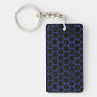 HEXAGON2 BLACK MARBLE & BLUE LEATHER KEY RING
