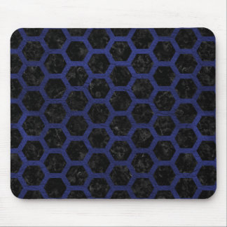 HEXAGON2 BLACK MARBLE & BLUE LEATHER MOUSE PAD