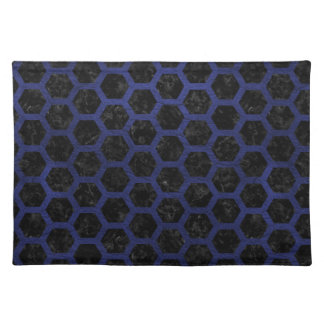 HEXAGON2 BLACK MARBLE & BLUE LEATHER PLACEMAT