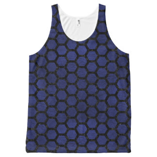 HEXAGON2 BLACK MARBLE & BLUE LEATHER (R) All-Over PRINT SINGLET