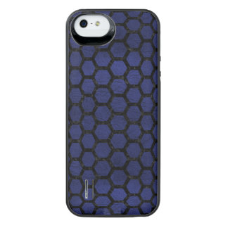 HEXAGON2 BLACK MARBLE & BLUE LEATHER (R) iPhone SE/5/5s BATTERY CASE