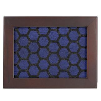 HEXAGON2 BLACK MARBLE & BLUE LEATHER (R) KEEPSAKE BOX