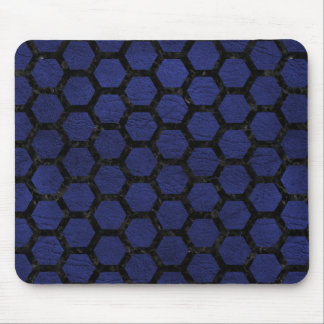 HEXAGON2 BLACK MARBLE & BLUE LEATHER (R) MOUSE PAD